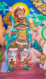 Chinese god painting. On temple wall, Thailand Royalty Free Stock Images