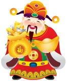 Chinese god of prosperity design illustration. Holding the money and gold ingots Stock Image