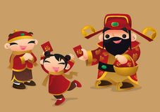 Chinese God of prosperity gives Red Packets to children. Royalty Free Stock Photos