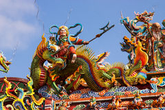 Chinese God Riding on a Dragon Royalty Free Stock Photo