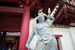 Chinese God statue at  Buddha Tooth Relic Temple and Museum. At Chinatown in Singapore Stock Photography