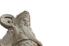 Chinese god statues on white background Stock Image