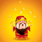 Chinese God of Wealth.  Falling gold bullions. Royalty Free Stock Photography