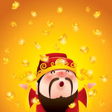 Chinese God of Wealth.  Falling gold bullions. Stock Photo