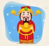 Chinese God of Wealth. Chinese New Year 2018. Greeting card. Vector illustration. Hieroglyph on hat means prosperity stock illustration