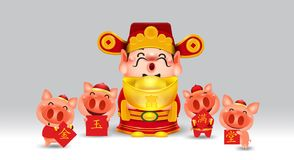 Chinese god of wealth year of the pig with chinese money gold isolated vector elements for artwork wealthy,chinese new year 2019. Zodiac Chinese Translation stock illustration
