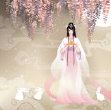 The Chinese Goddess of Moon, Chang'e and moon cake. Vector illustration mid autumn festival. Stock Photo