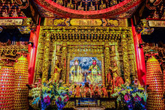Chinese Gods statues can be seen at Wenwu Temple in Puli County Royalty Free Stock Photo