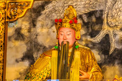 Chinese Gods statues can be seen at Wenwu Temple in Puli County Royalty Free Stock Photos