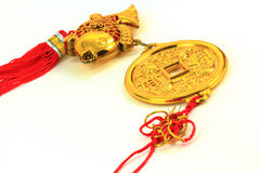 Chinese gold amulet Stock Images