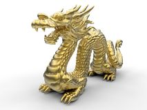 Chinese gold dragon illustration - perspective view royalty free illustration