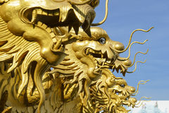 Chinese gold dragon. Symbol in temple stock images