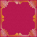Chinese gold frame on red pattern background. Vector oriental vintage gold frame on red pattern background for chinese new year celebration card royalty free illustration