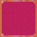 Chinese gold frame on red square pattern background. Vector oriental vintage gold frame on red pattern square background for chinese new year celebration card vector illustration