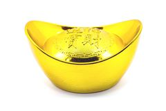 Chinese gold ingot. Isolated on white background Royalty Free Stock Photography