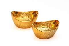 Chinese gold ingots Royalty Free Stock Image