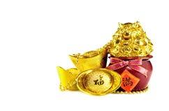 Chinese gold ingots. Decoration isolated on white background Royalty Free Stock Photography