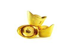 Chinese gold ingots. Decoration of chinese gold ingots isolated on white background Royalty Free Stock Photo