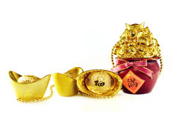 Chinese gold ingots. Decoration isolated on white background Royalty Free Stock Images