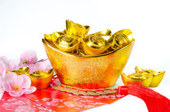 Chinese gold ingots decoration stock image