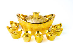 Chinese gold ingots decoration Royalty Free Stock Photos