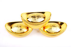 Chinese gold ingots in isolated whi Stock Photo