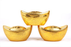 Chinese gold ingots in isolated whi Stock Images