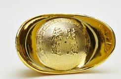 Chinese gold ingots isolated. On white background stock photos