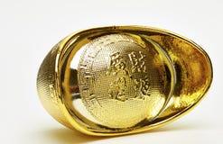 Chinese gold ingots isolated. On white background stock image