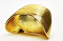 Chinese gold ingots isolated. On white background royalty free stock photo