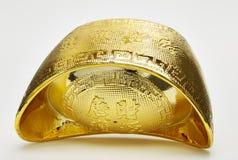 Chinese gold ingots. On white background stock photo