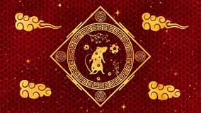 Red Chinese New Year background with gold, rat, fireworks, 3D rendering loop 4k. Magical Happy new year animation.