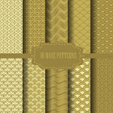 Chinese gold pattern. 10 different classic wave vector patterns. Endless texture can be used for wallpaper, pattern fills, web page background,surface textures stock illustration
