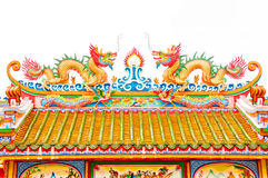 Chinese golden dragon. On the roof Royalty Free Stock Photos