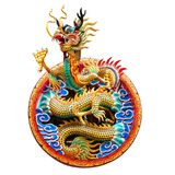 Chinese golden dragon. For decoration in the temple isolated on white background with clipping path royalty free stock images