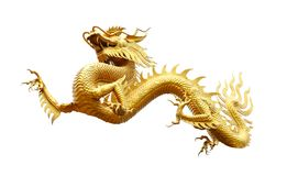 Chinese golden dragon isolated on white with clipping path. Golden traditional chinese dragon isolated on white background. Feng Shui statuette Royalty Free Stock Photography