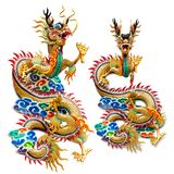 Chinese golden dragon statue. For decoration in the temple isolated on white background with clipping path royalty free stock images