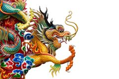 Chinese golden dragon statue royalty free stock image