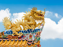 Chinese golden dragon statue stock photo