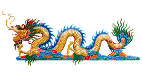 Chinese golden dragon statue isolate on white background. Royalty Free Stock Photography