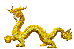 Chinese Golden Dragon statue Stock Images