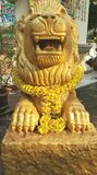 Chinese golden lion sculpture Stock Image