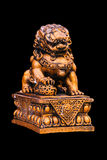 Chinese golden lion statue Stock Photo