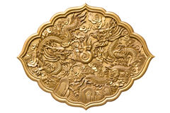 Chinese golden twin dragons Stock Images