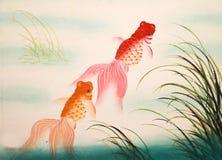 Chinese goldfish painting Royalty Free Stock Photography