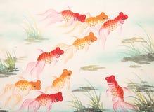 Chinese goldfish painting Stock Image