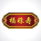 Chinese Good luck Characters Plate. Blessings, Prosperity and Longevity. Royalty Free Stock Images