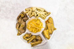 Chinese goose web feet, intestine, gizzard and seaweed delicacy Stock Images