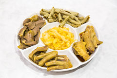 Chinese goose web feet, intestine, gizzard and seaweed delicacy Stock Image