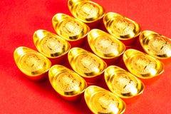 Chinese Gouden baar (Sycees, YuanBao) Stock Foto